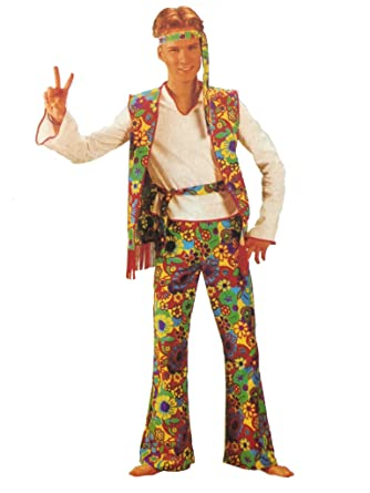 Hippie Man Flower Power 5pc Complete Costume in 2 Sizes