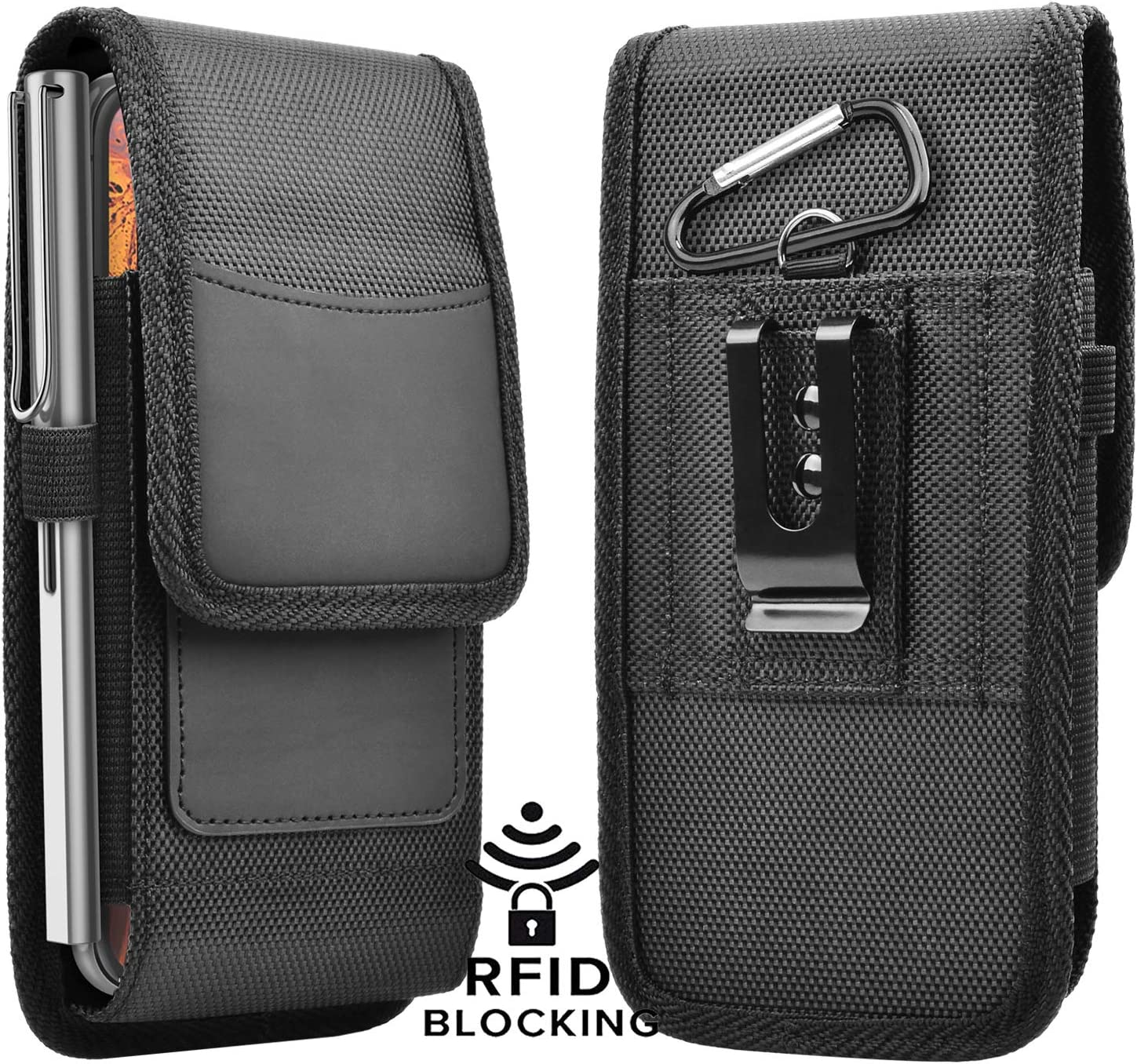 Njjex Phone Holster for Galaxy S20 S10 Plus S10e S9 S8 Note 10+ 9 8 A10e A20 A30 A50 LG Stylo 5 4 3 Aristo 4 3 2 Metal Belt Clip Pouch RFID Wallet Card Slots Holder (Fits Otterbox Defender Case on)