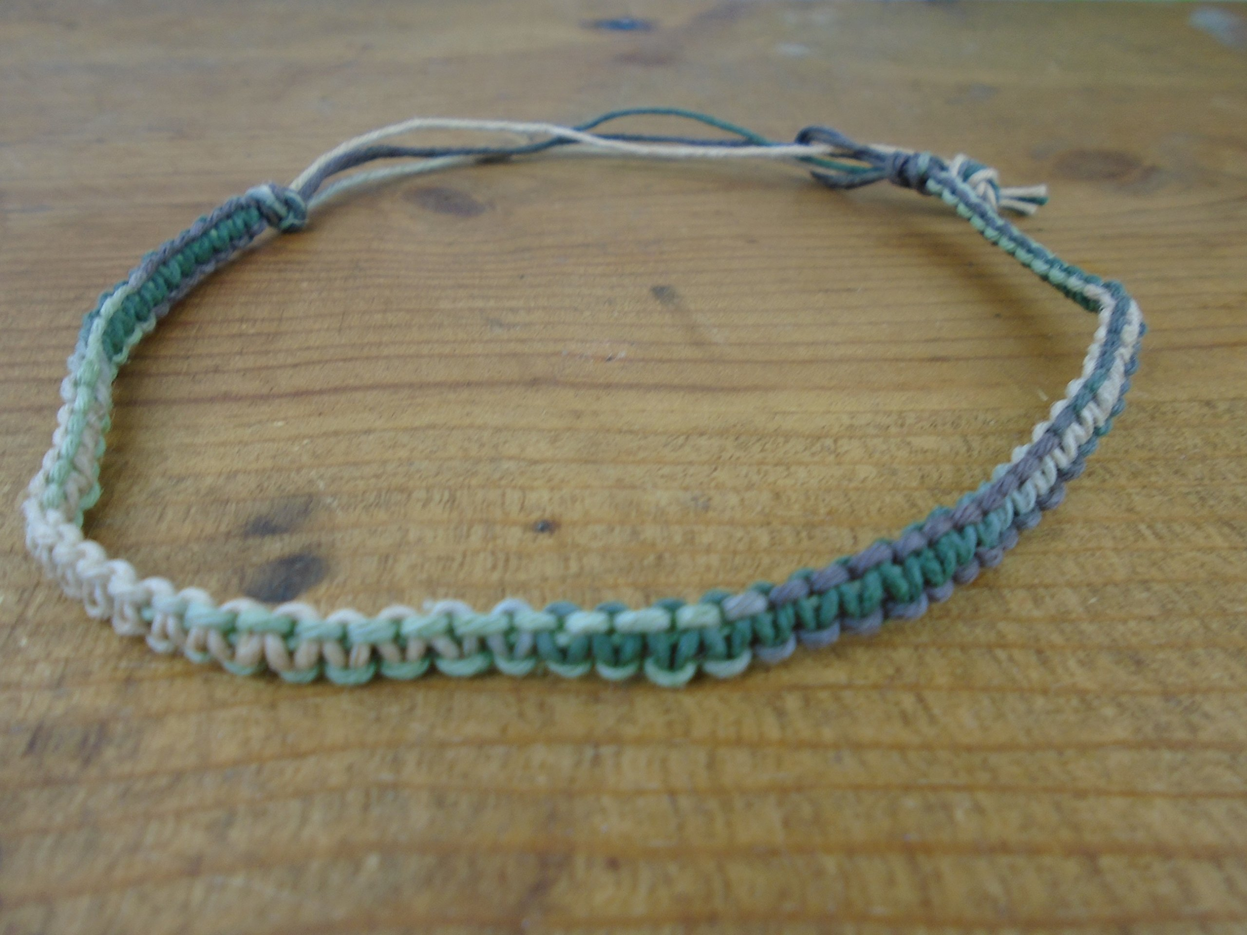 Camouflage Hemp Anklet Adjustable 9-13 inches Men's or Women's, Camo Macrame
