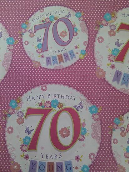 Ladies Happy 70 70th regalo de cumpleaños papel de regalo ...