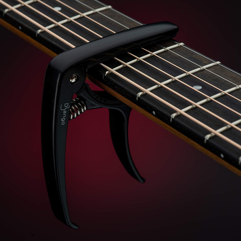 Capo Django de Pick Geek | Cejilla Para Guitarra Acustica, Electrica y Clasica | Color Negro | Incluye Extractor de Clavijas Para Cambiar Cuerdas | Fácil de Usar Desenganche Rápido | Extra Acolchado