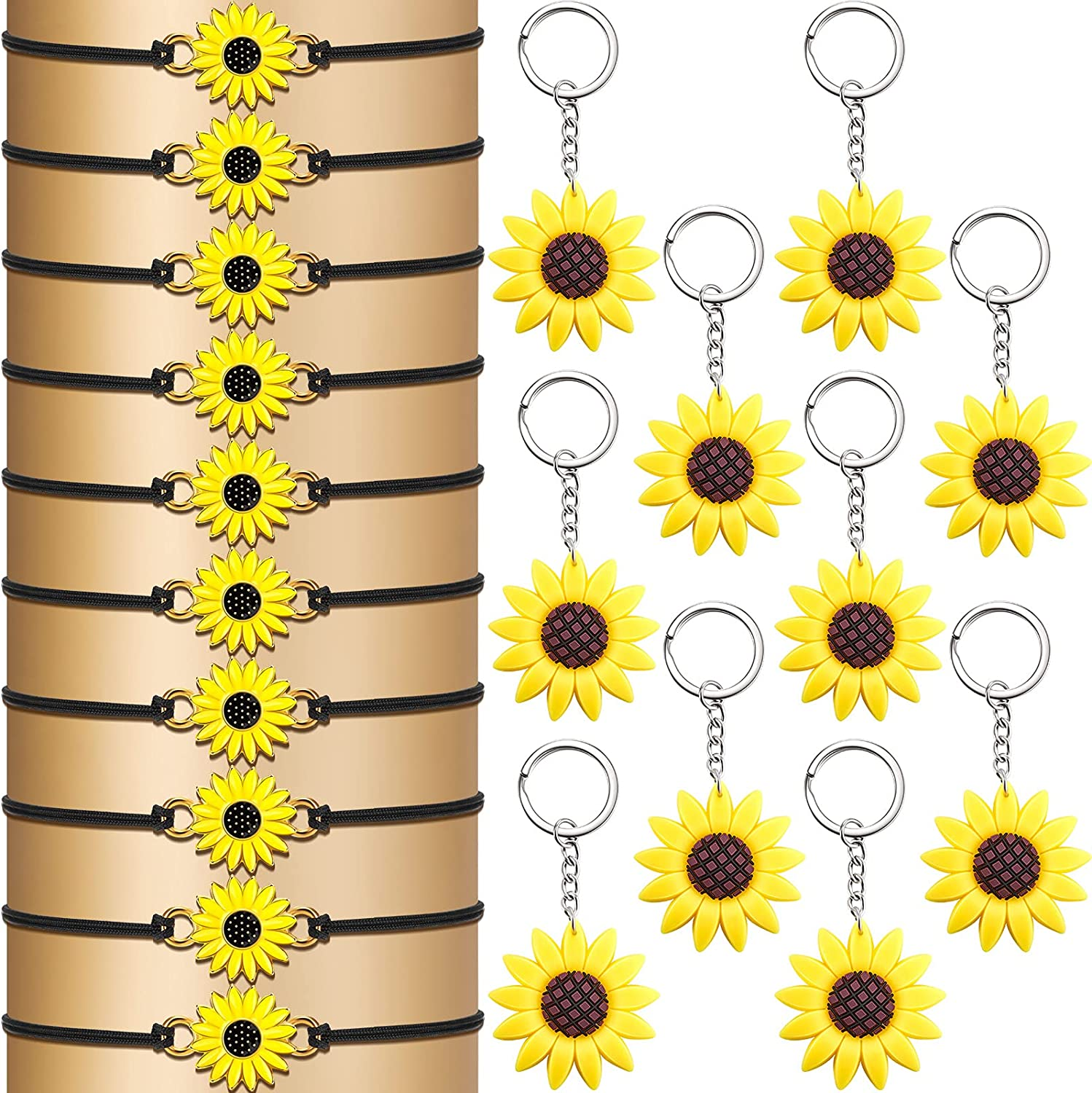 20 Pieces Sunflower Keychains and Bracelets Sunflower Pendant Keychain Adjustable Sunflower Bracelets Backpack Hanging Key Ring Boho Friendship Presents for Women Girls Summer Birthday Party Decor