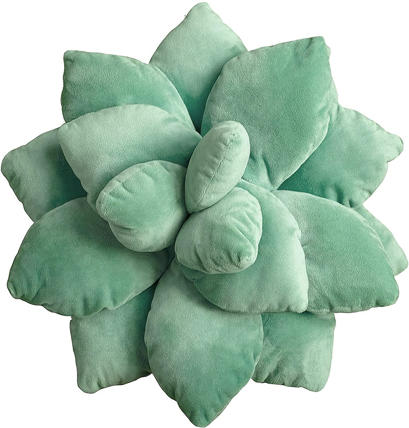 3D Succulents Cactus Pillow, Cute Succulents, for Garden or Green Lovers Baby Green Plant Throw Pillows for Bedroom Room Home Decoration Novelty Plush Cushion (GreenA, 18)