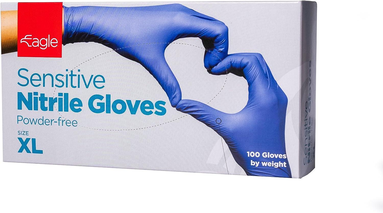 Eagle Protect Sensitive Nitrile Gloves Food Prep Non Latex Gloves Disposable Tactile FDA Compliant Food Handling Powder Free Accelerator Free Textured Fingertip Indigo Box of 100 - XL