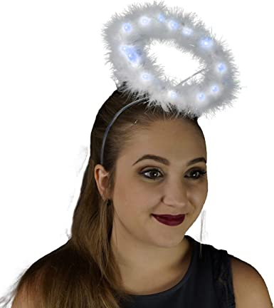 2 Pack Angel Halo Headbands Feather Angel Headband White Halo Headband Halloween Christmas Costume Accessory for Kids Adult Black