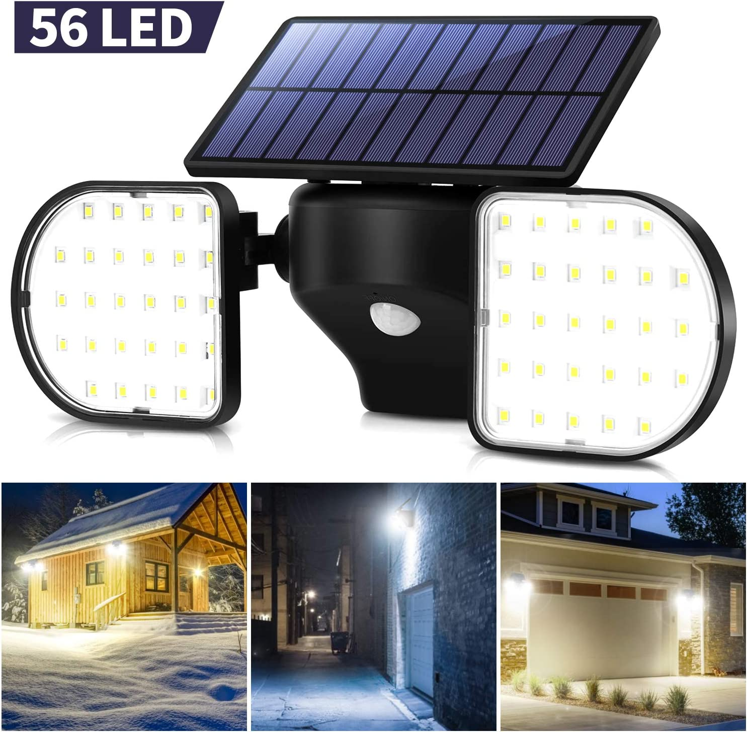 OUSFOT Solar Security Light Motion Sensor Outdoor 56 LED Solar Flood Light Dual Head Spotlights IP65 Waterproof 360°Adjustable Solar Wall Lights for Patio Front Door Yard Garden Garage Deck (Black)