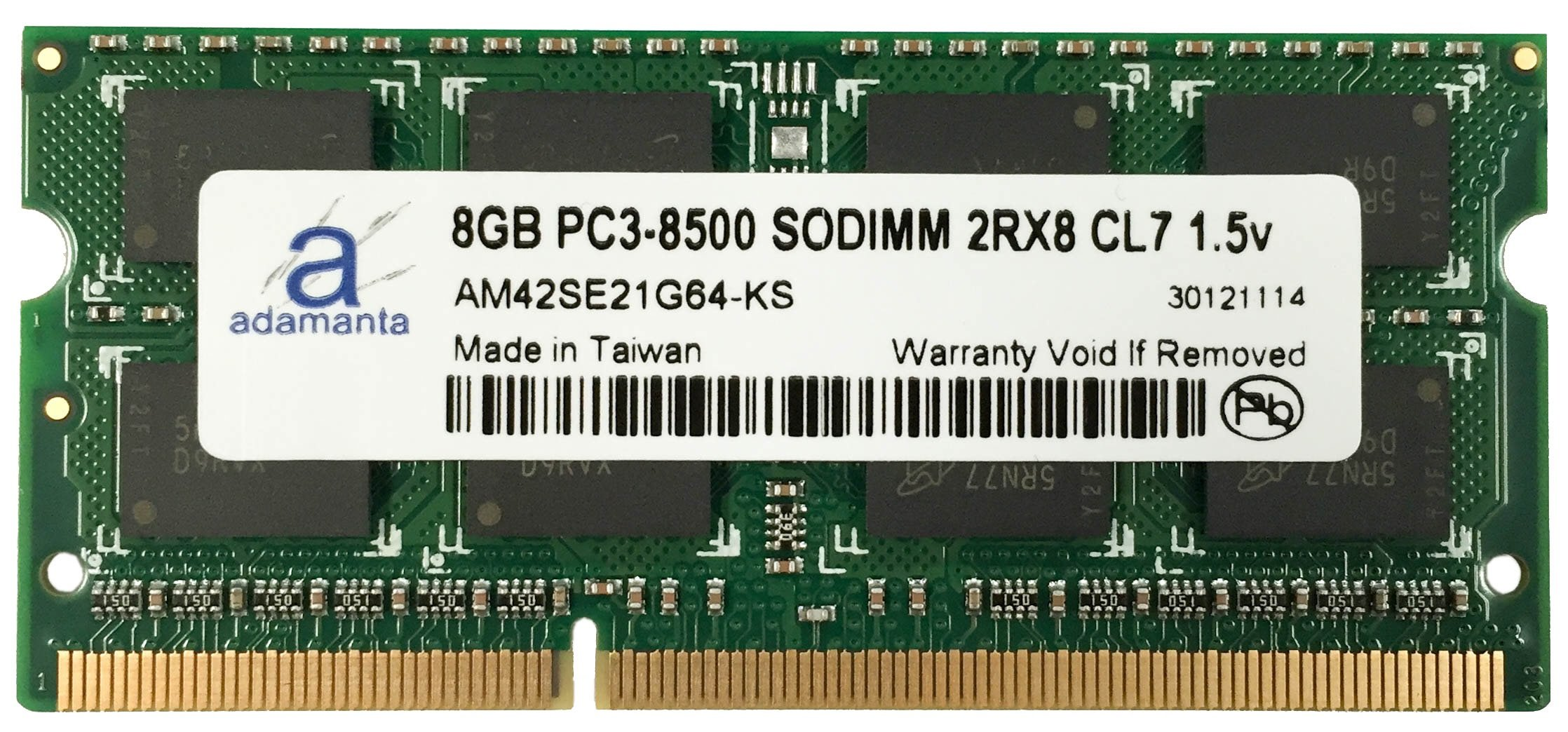 Adamanta 8GB (1x8GB) Laptop Memory Upgrade for Select HP G62 DDR3 1066Mhz PC3-8500 SODIMM 2Rx8 CL7 1.5v Notebook DRAM