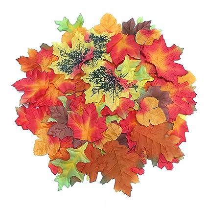 amazon com luxbon 100pcs artificial autumn fall maple leaves multi