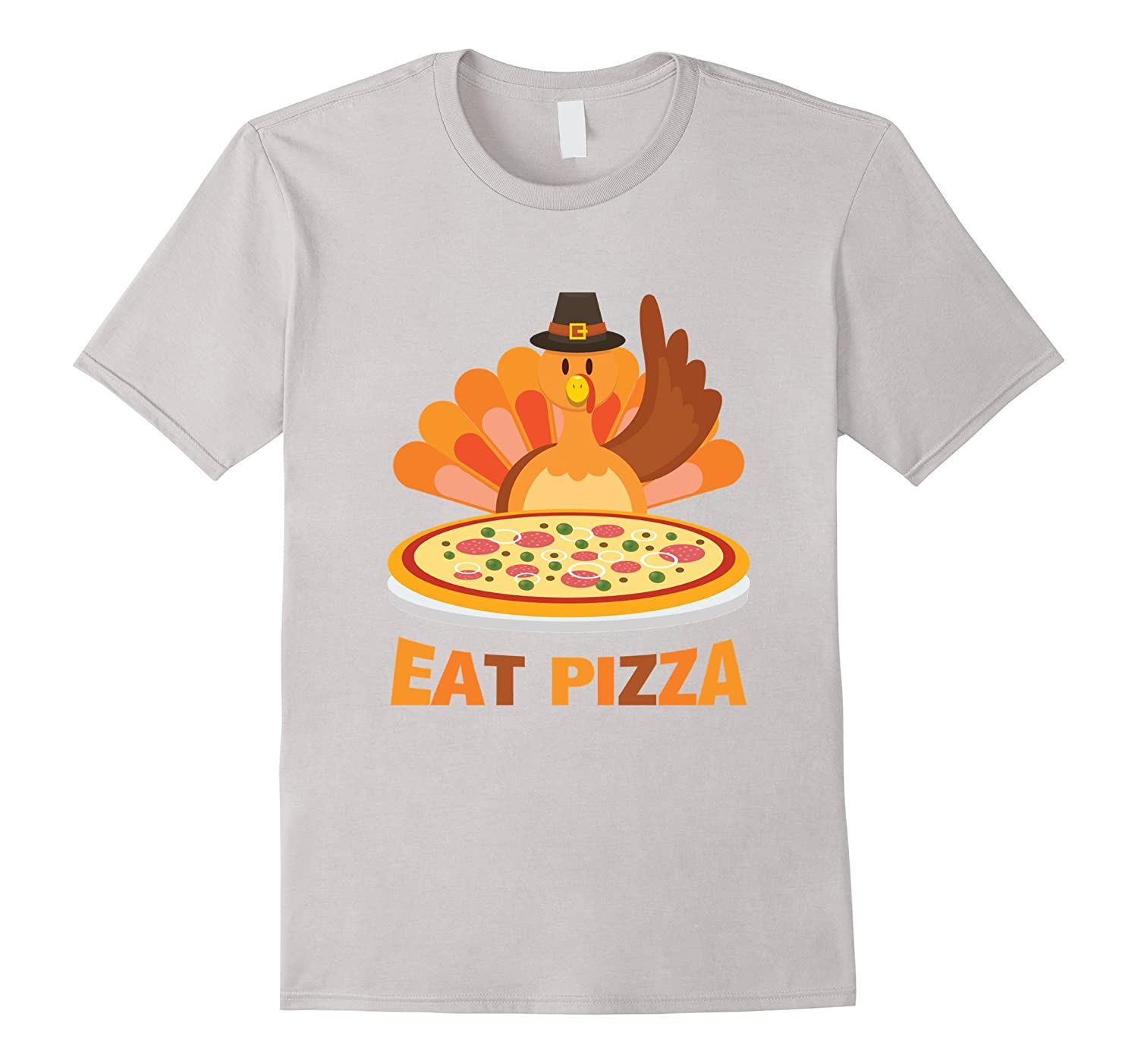 9611042e Turkey Eat Pizza Funny Thanksgiving Day Pilgrim T-Shirt-TD – Teedep