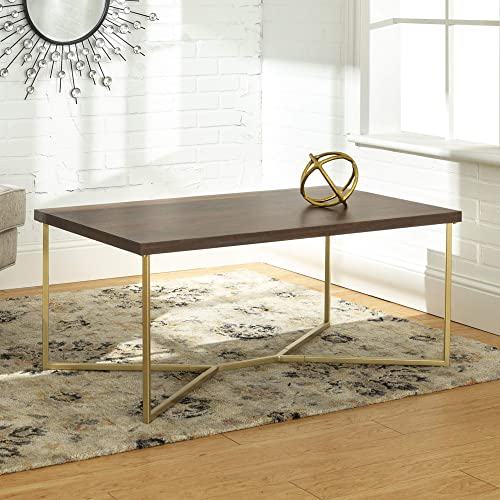 Walker Edison Furniture Company Mid Century Modern Wood Rectangle Coffee Accent Table Living Room, Dark Walnut Gold