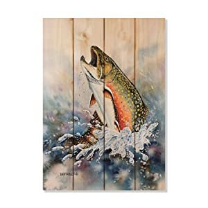 CELYCASY Brook Trout Art Print On Wood Wood Wall Art Pallet Wall Art Home Decor Trout Print Trout Painting Trout Watercolor Fish Gift