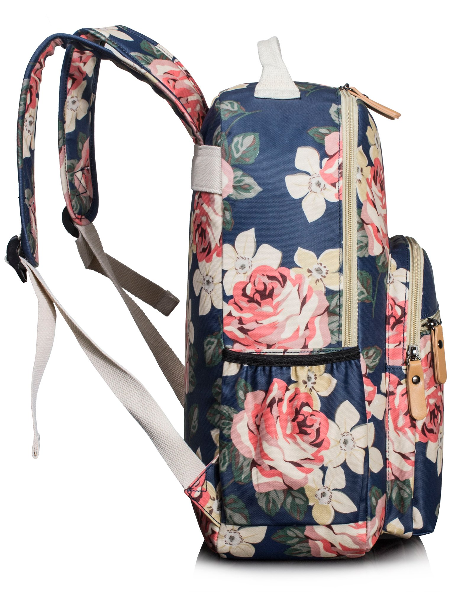 Leaper Floral Water-resistant Laptop Backpack College Bags Daypack Dark Blue by Leaper (Image #4)
