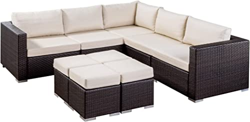 Great Deal Furniture Tammy Rosa Outdoor 5 Seater Wicker Sectional Sofa Set