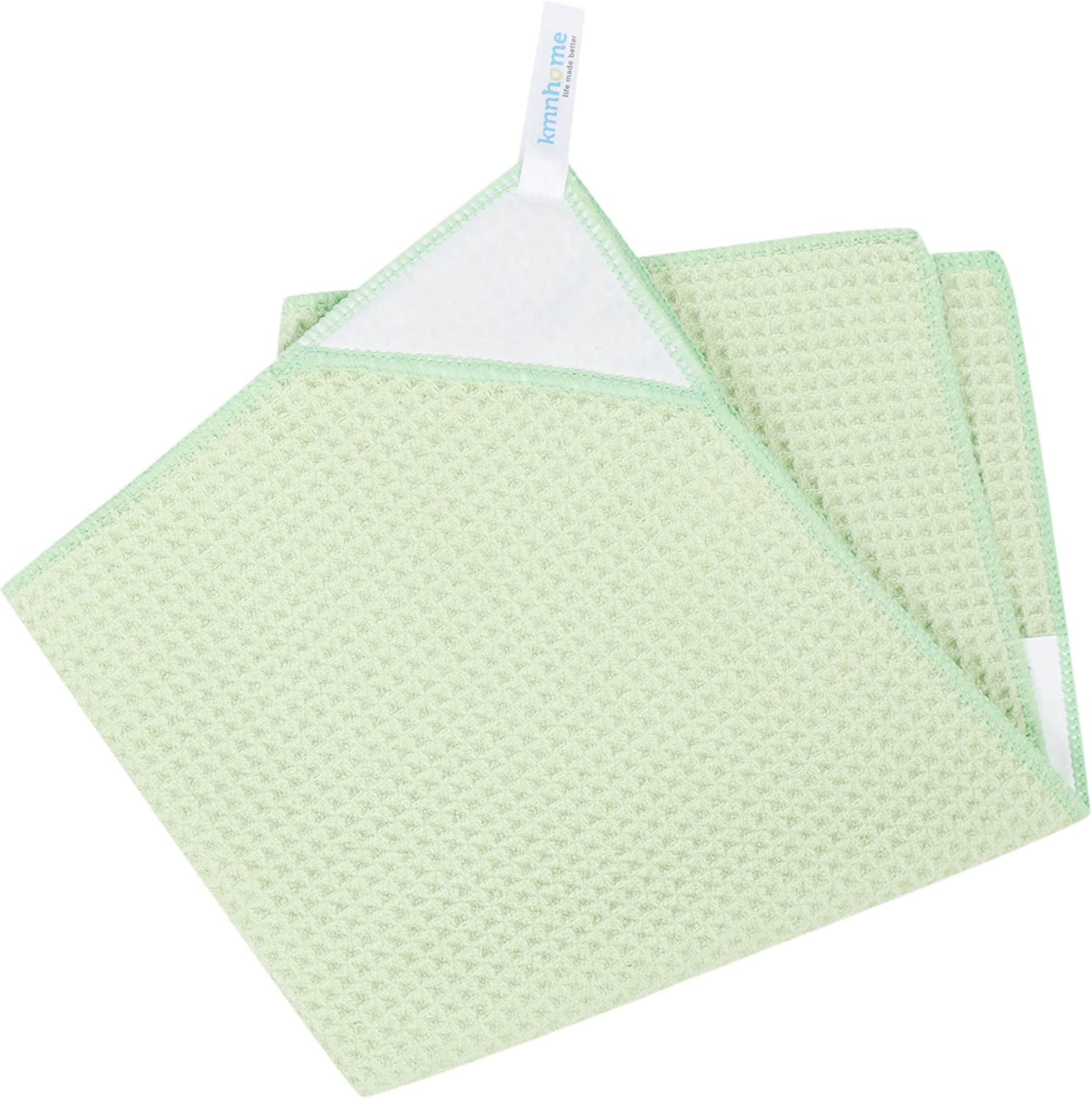 KMN Home Magnetic Microfiber Kitchen Towel, Waffle Weave Dish Towel with Magnetic Towel Holder, Green