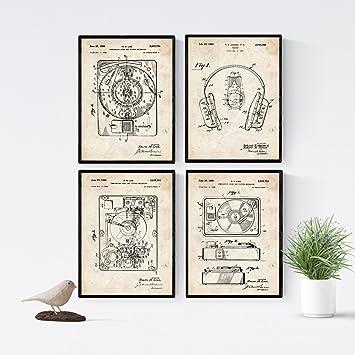 Nacnic Vintage - Pack de 4 Láminas con Patentes de ...