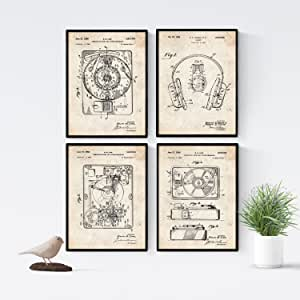 Nacnic Vintage - Pack de 4 Láminas con Patentes de Tocadiscos. Set ...