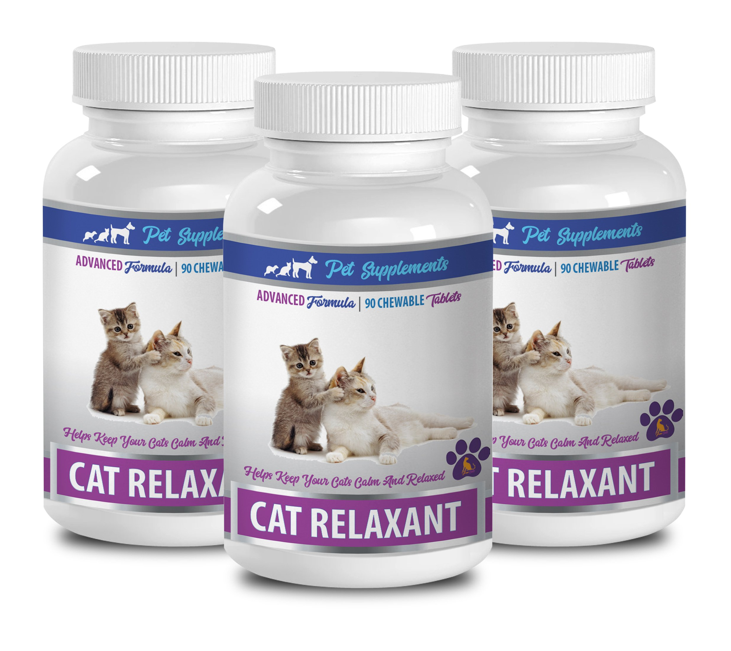 PET SUPPLEMENTS cat travel calming products - CAT RELAXANT - KEEPS CATS CALM AND RELAXED - CHEWABLE TREATS - anti anxiety cat - 3 Bottle (260 Chews)