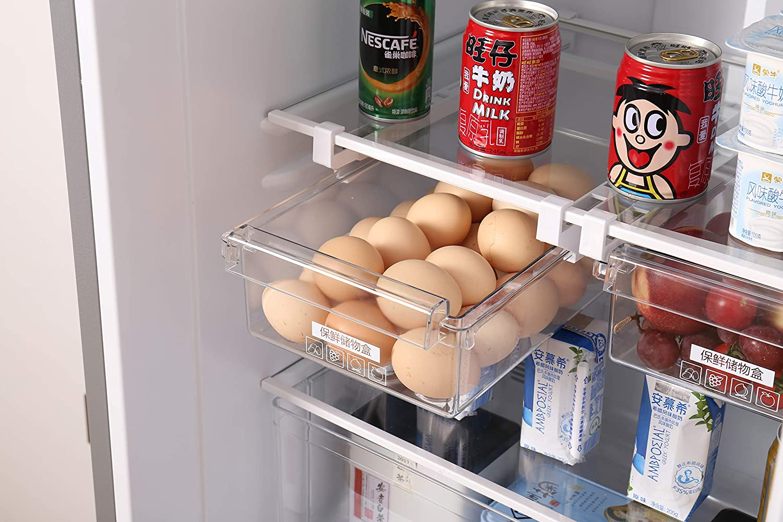 HapiLeap Fridge Organizer Unique Design Pull Out Drawer Bins Fridge Shelf Refrigerator Holder Storage Box Home Organizer (1 Pack) HapiLeap-KB65A