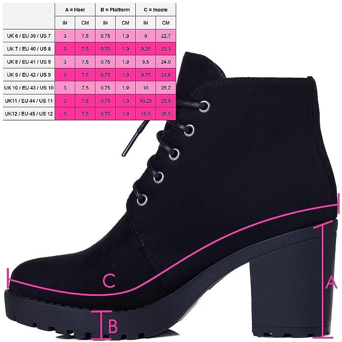 7e8e8836b977 Spylovebuy GIRA Women s Lace up Chunky Block Heel Platform Ankle Boots  Shoes  Amazon.co.uk  Shoes   Bags