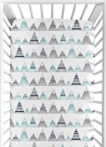 Sweet Jojo Designs Navy Blue, Aqua and Grey Aztec Baby or Toddler Fitted Crib Sheet for Mountains Collection by