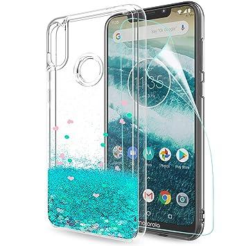LeYi Funda Motorola Moto One Power Silicona Purpurina Carcasa con HD Protectores de Pantalla,Transparente Cristal Bumper Telefono Gel TPU Fundas Case ...