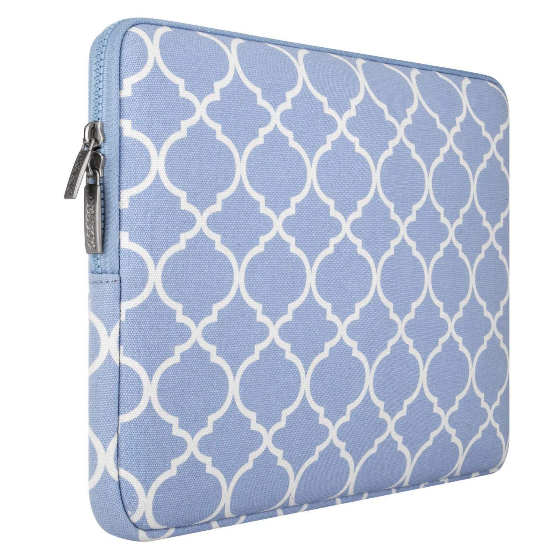MOSISO Laptop Sleeve Borsa Compatibile con 15 Pollici 2018-2016 MacBook Pro Touch Bar A1990 A1707,14 Pollici ThinkPad Chromebook,Manica Canvas Geometrica con Custodia Piccola,Serenity Blu Quadrifoglio