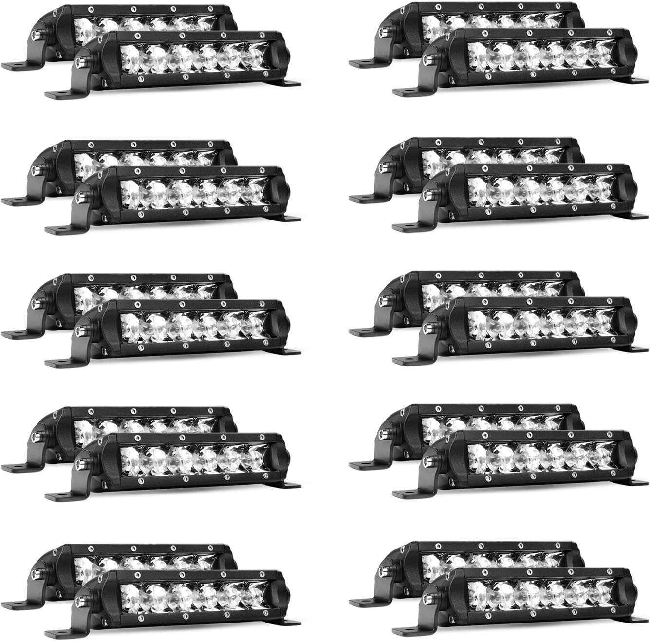 Led Light Bar Nilight Super Slim 20PCS 7Inch 30W Spot Driving Light Single Row Off Road led Lights for Jeep - 2 Style Mounting Brackets, 2 years Warranty