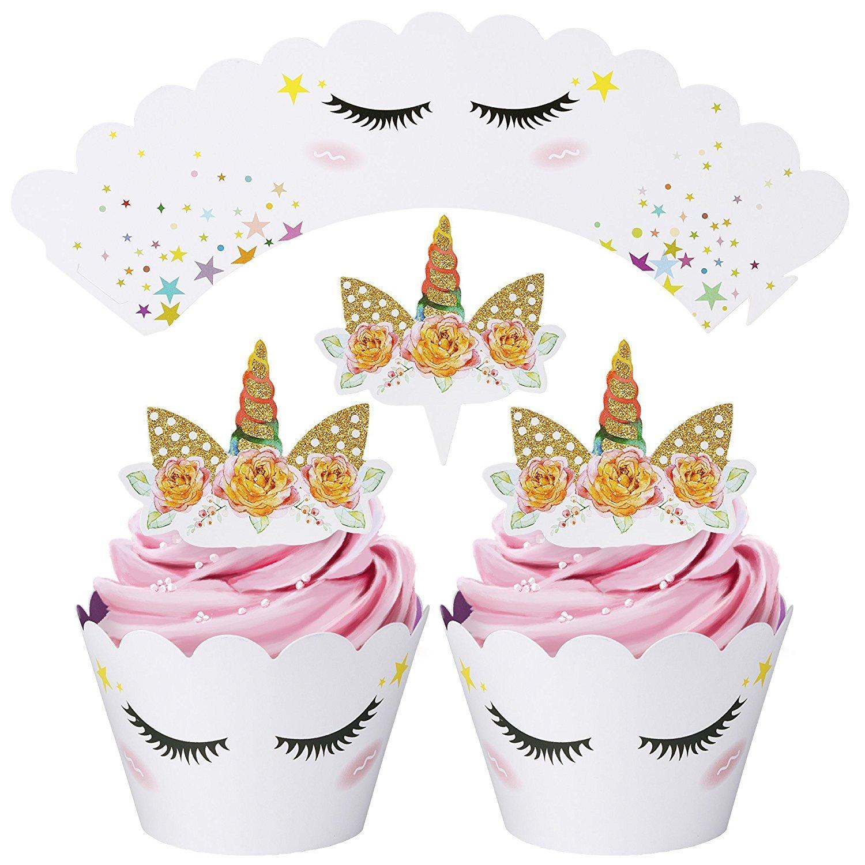mciskin Envoltura de Cupcake Unicornio y Cuerno, Unicornio Banner de Feliz Cumpleaños ,Suministros de Fiesta de Unicornio(Paquete de 25): Amazon.es: ...