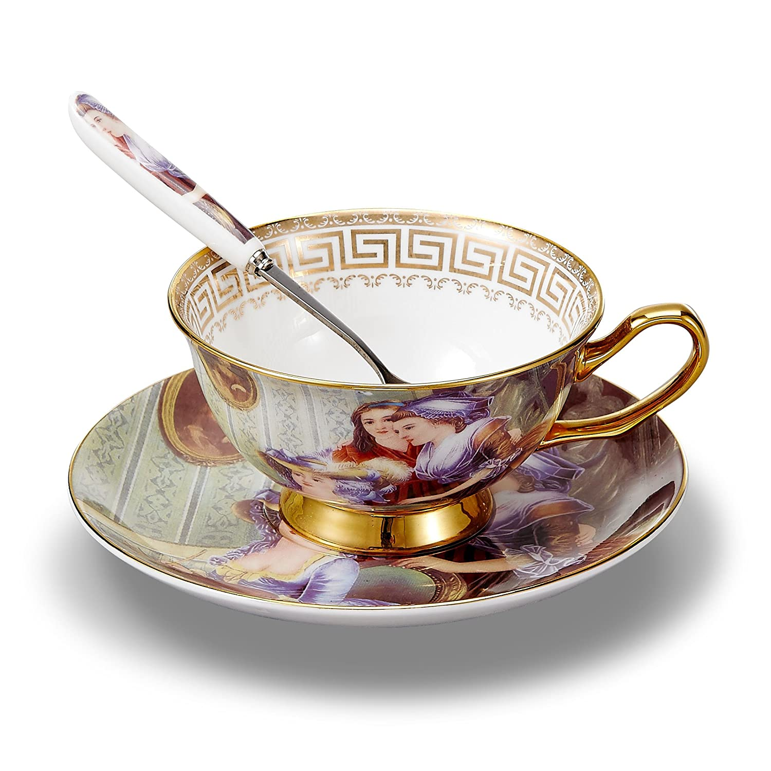 Panbado Tasses /à Th/é Service /à Caf/é 200ml avec Soucoupe Cuill/ère en Porcelaine Style Palais Royal Antique Bone China Teacup 1 Set Tasse /à Th/é Sans Porte-tasse
