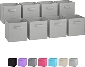 Royexe Storage Bins - Set of 8 - Storage Cubes | Foldable Fabric Cube Baskets Features Dual Handles. Cube Storage Bins. Closet Shelf Organizer | Collapsible Nursery Drawer Organizers (Light Grey)