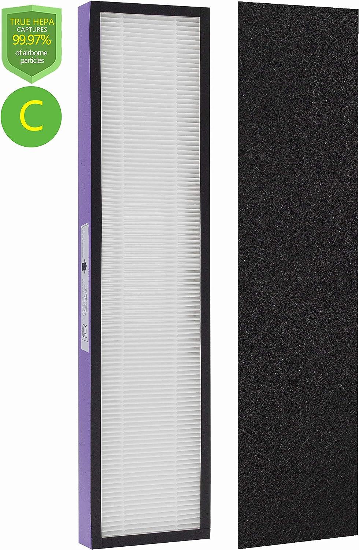 Drolma FLT5250PT Size C True HEPA Replacement Filter, Compatible with GermGuardian Air Purifier Models AC5000E, AC5300B, AC5350W, AC5350, AP2800CA, Black+Decker BXAP250 & Lowes'Idylis IAP-GG-125