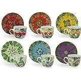 Excelsa Mandala Tropical - Juego de 6 tazas de café con platillo, 90 cl, multicolor, porcelana