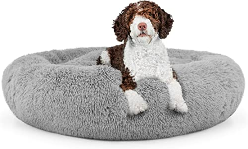 The Dog s Bed Sound Sleep Donut Dog Bed, Large Silver Grey Plush Removable Cover Premium Calming Nest Bed