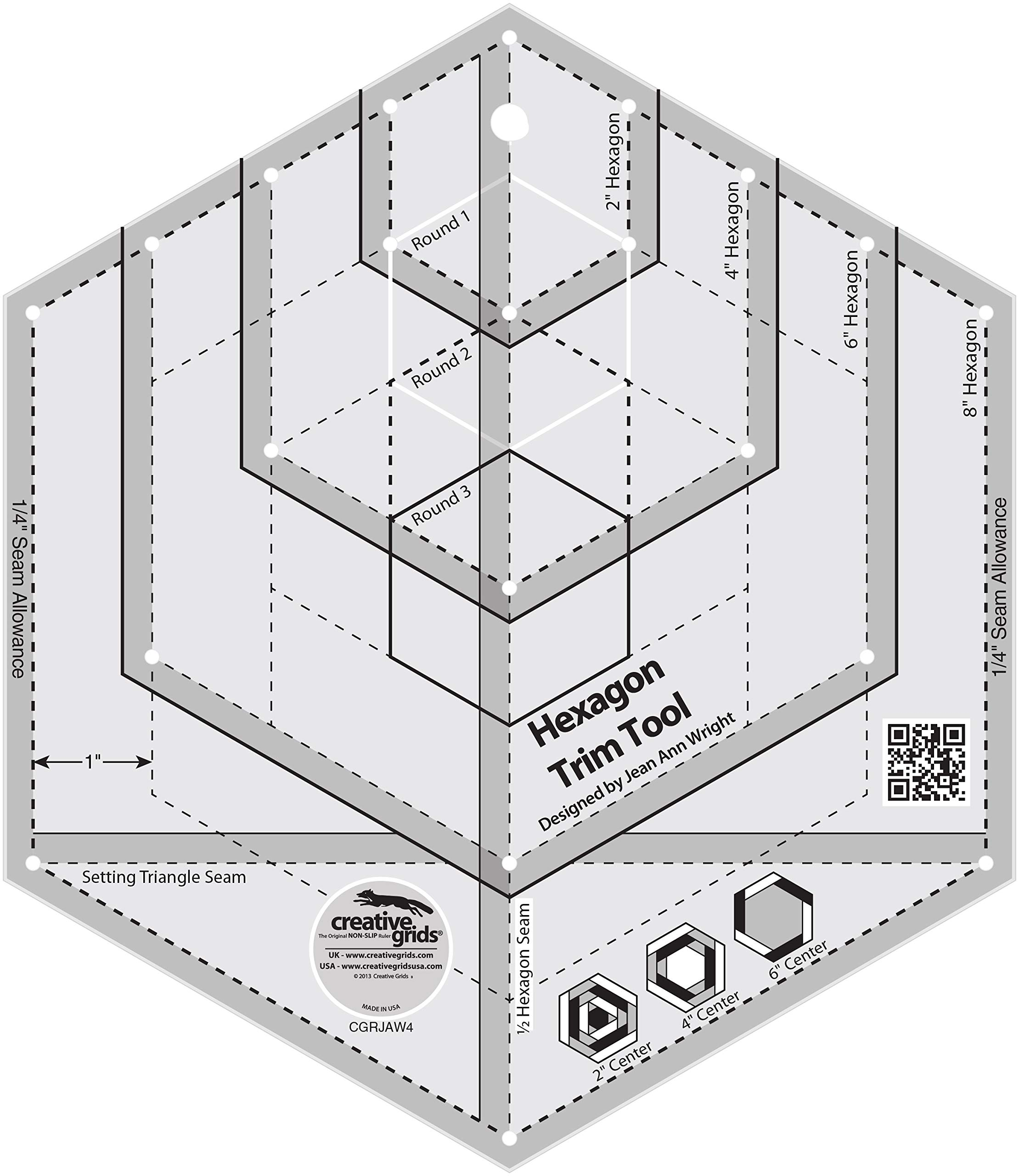 Creative Grids Hexagon Trim Tool Quilting Ruler Template CGRJAW4 by Creative Grids