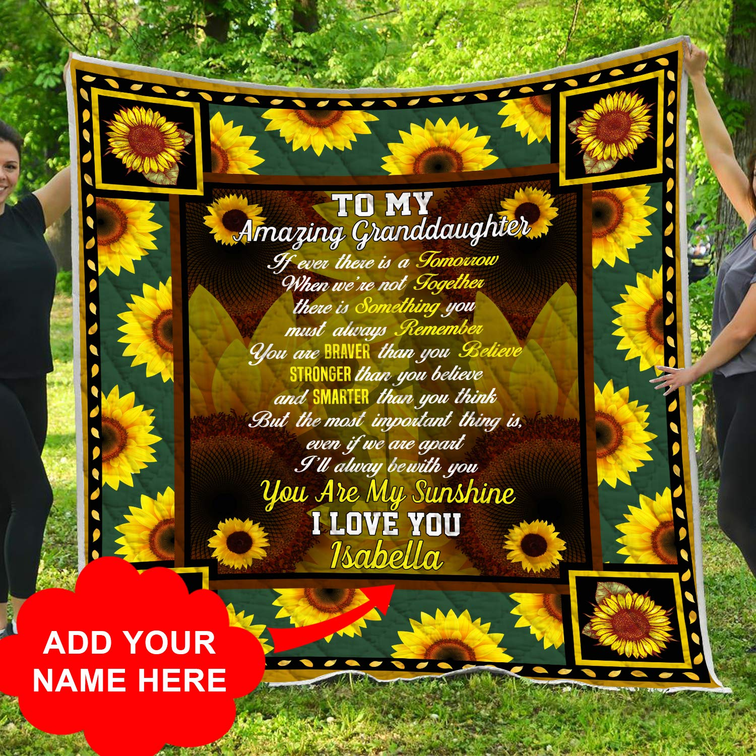 Personalized To My Granddaughter You Are My Sunshine Sunflower Quilt Blanket Quilted Customized Christmas Birthday Little Girl Gifts from Grandparents Grandmother Grandma Grandfather Grandpa Papa Nana