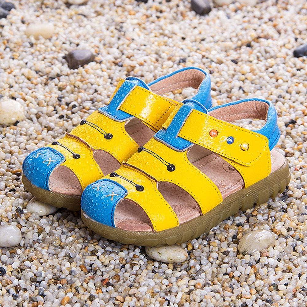 SMajong Sandales Bout Ferm/é Gar/çon Fille Chaussures Cuir Souple Plat Marche Confortables Flexibles Beach Sandales /Ét/é pour