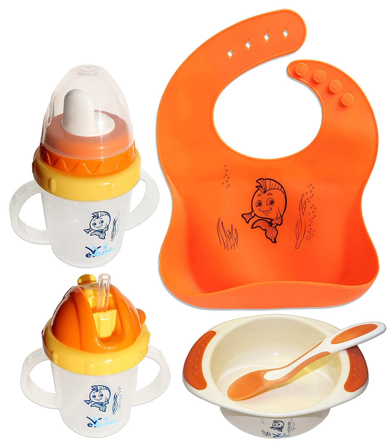 Baby Feeding Set for Boys & Girls, BPA Free Sippy Cup + Training Cup with a Straw + Waterproof Silicone Bib + Bowl with Color Change Spoon (5 pcs) eYone Manufacturing