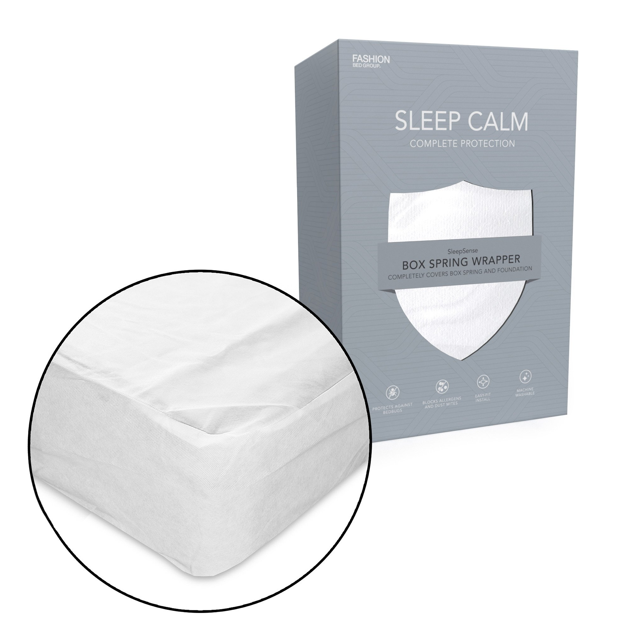 Sleep Calm Nonwoven Zippered Box Spring Encasement with Bed Bug Defense, Full XL