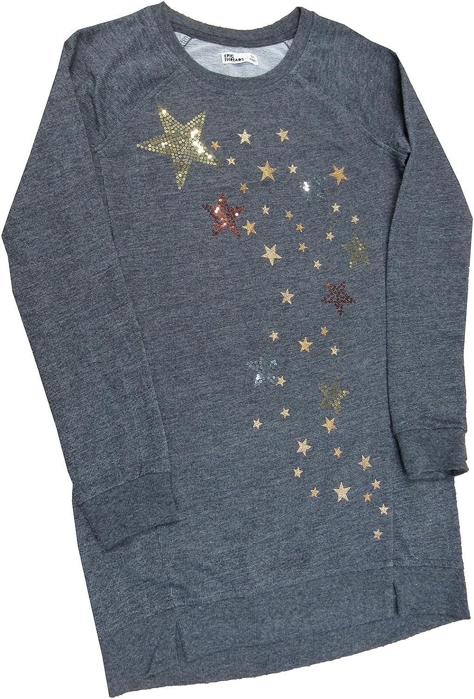 Epic Threads Hero Kids Big Girls Glitter Stars Long Sweatshirt Charcoal HTR X-Large
