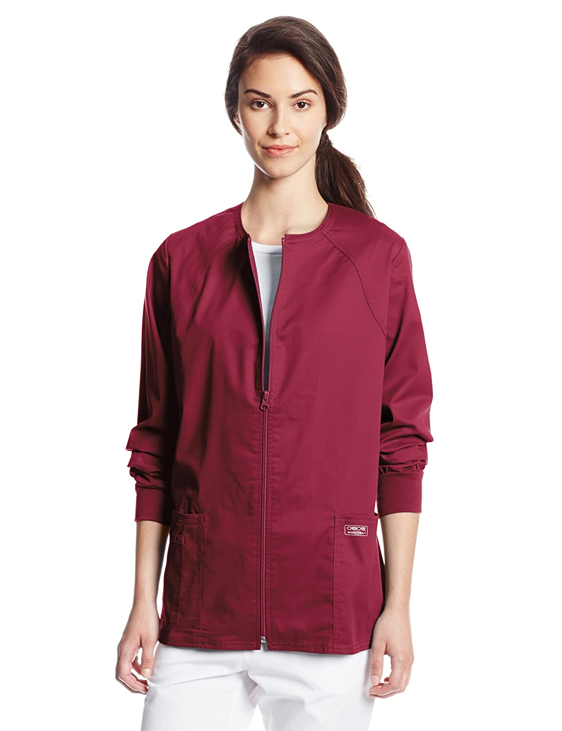 Cherokee Women's Workwear Scrubs Core Stretch Zip-Front Warm-Up Jacket 4315