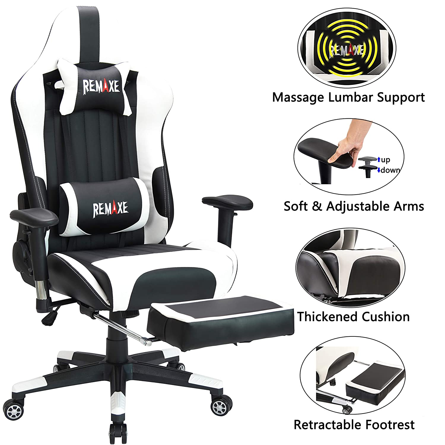 Large Size Gaming Chair High-Back PC Racing Chair Headrest Lumbar Massager Cushion Ergonomic Swivel PC Racing Chair with Retractable Footrest,PU Leather Executive Home Computer Chair Black White