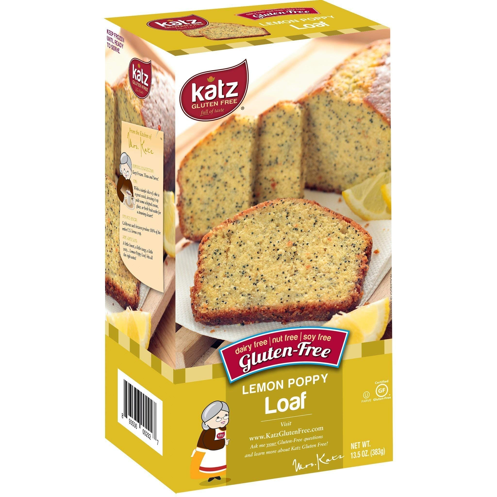 Katz Gluten Free Lemon Poppy Loaf | Dairy, Nut, Soy and Gluten Free | Kosher (3 Packs of 1 Loaf, 13.5 Ounce Each) by Katz Gluten Free