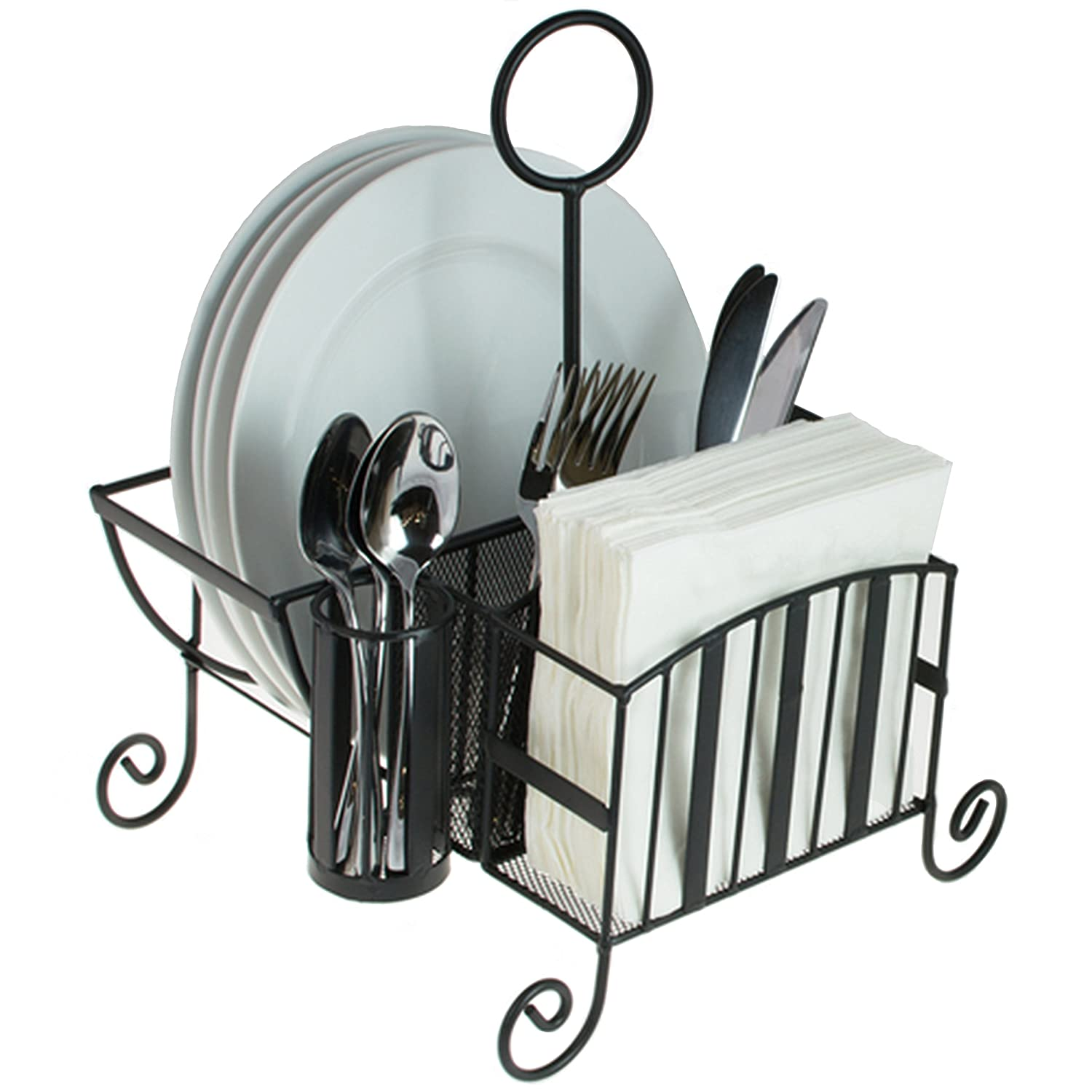 Black Metal Mesh Kitchen / Picnic Buffet Caddy Holder for Utensil, Plates, Napkins with Handle MyGift
