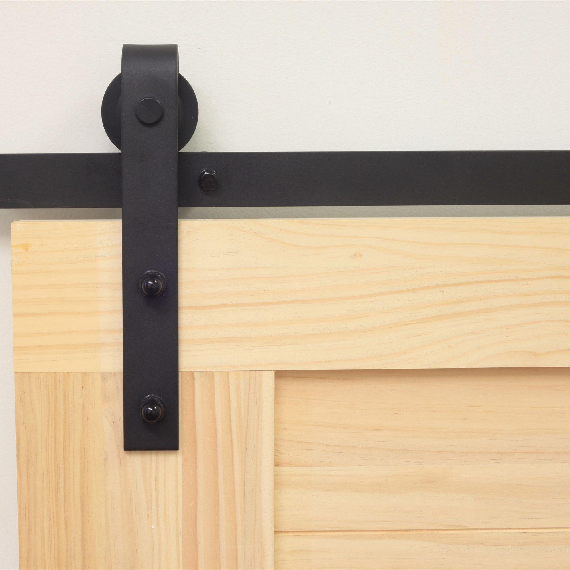 Homacer Sliding Barn Door Hardware Standard Single Door Kit, 5FT Flat Track Classic Design Roller, Black Rustic Heavy Duty Interior Exterior Use