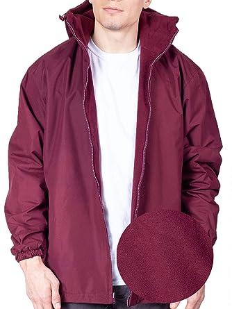 size 40 84de5 8678f Maxxsell Mens Reversible Fleece Lined Hooded Windbreaker Rain Jacket  (Large, Burgundy)