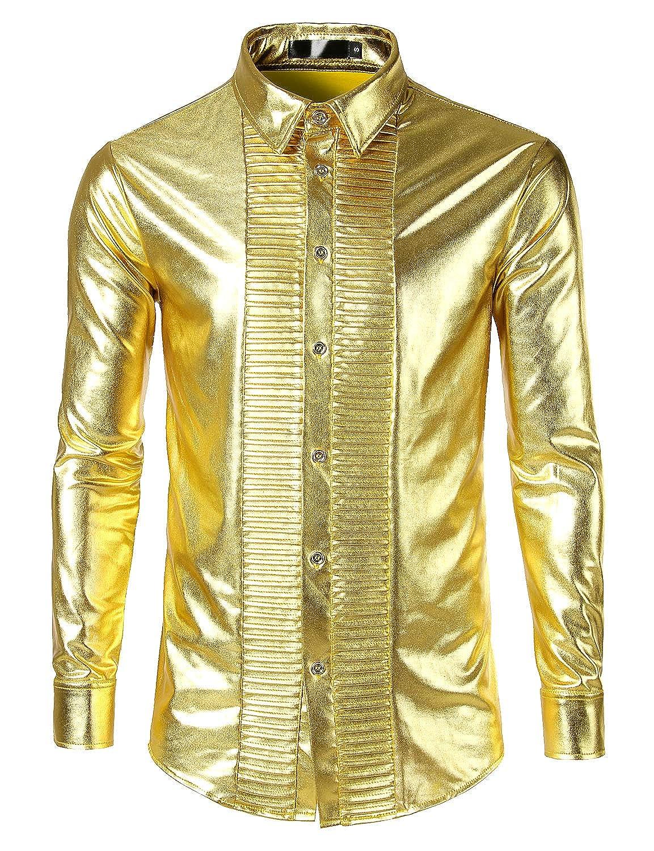 JOGAL Men's Trend Nightclub Styles Metallic Silver Button Down Shirts B0603