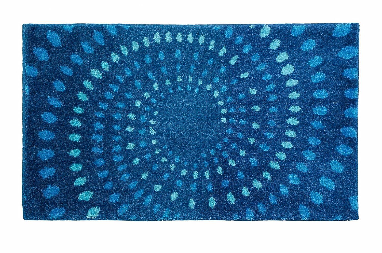 SCHÖNER WOHNEN-Kollektion, Mauritius, Badteppich, Badematte, Badvorleger, Design Kreise - blau, Oeko-Tex 100 zertifiziert, 70 x 120 cm