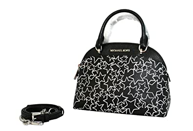 454eda99fcaa MICHAEL Michael Kors EMMY Women's Shoulder Handbag SMALL DOME SATCHEL  (Black/white)