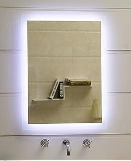 Badspiegel LED Spiegel GS084N Mit Beleuchtung Durch Satinierte Lichtflächen  Badezimmerspiegel (40 X 60 Cm,