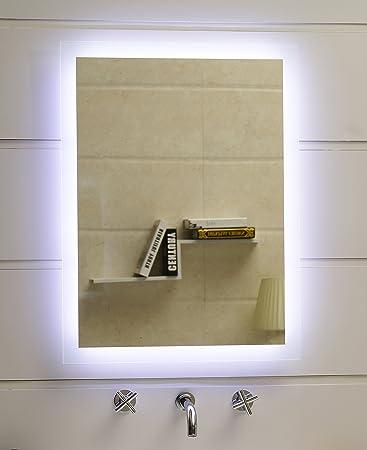 Badspiegel LED Spiegel GS084N mit Beleuchtung durch satinierte ...